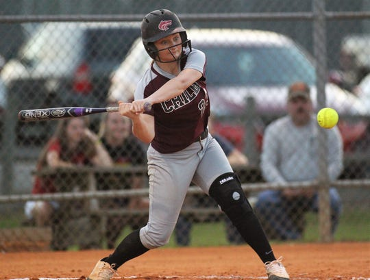 Chiles junior Sierra Jevyak smacks a double as Chiles won 6-1 against visiting Franklin County on Wednesday, April 10, 2019.