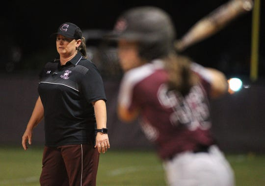 Chiles softball coach Cyndi Jevyak watches as Chiles won 6-1 against visiting Franklin County on Wednesday, April 10, 2019.