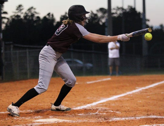 Chiles senior Kelsey Mead bunts as Chiles won 6-1 against visiting Franklin County on Wednesday, April 10, 2019.