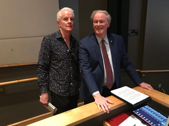 (L-R) David KIrby, Robert O. Lawton Distinguished Professor of English, left, with Florida State University President John Thrasher on April 12, 2019, moments before ceremony Kirby's 50th year at FSU.