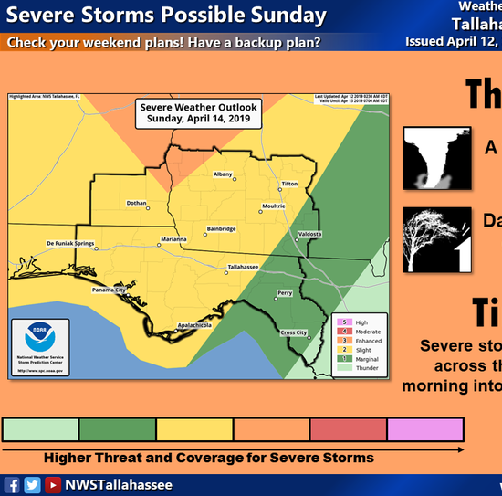Severe weather could hit North Florida on Sunday