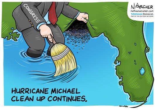 Cartoon: Hurricane Michael clean up