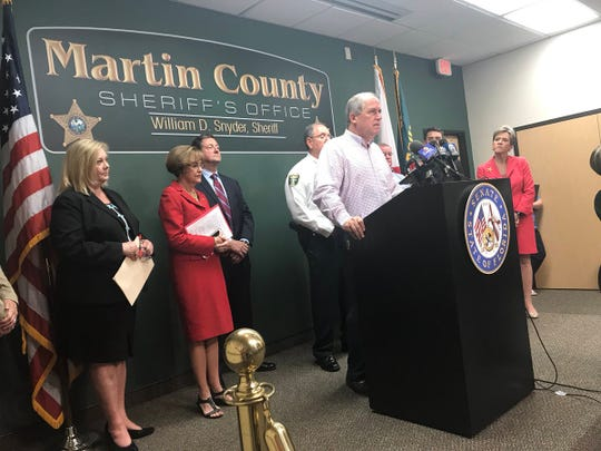 Commissioner Ed Campi speaks at a press conference Friday, April 12, 2019, about hepatitis A.