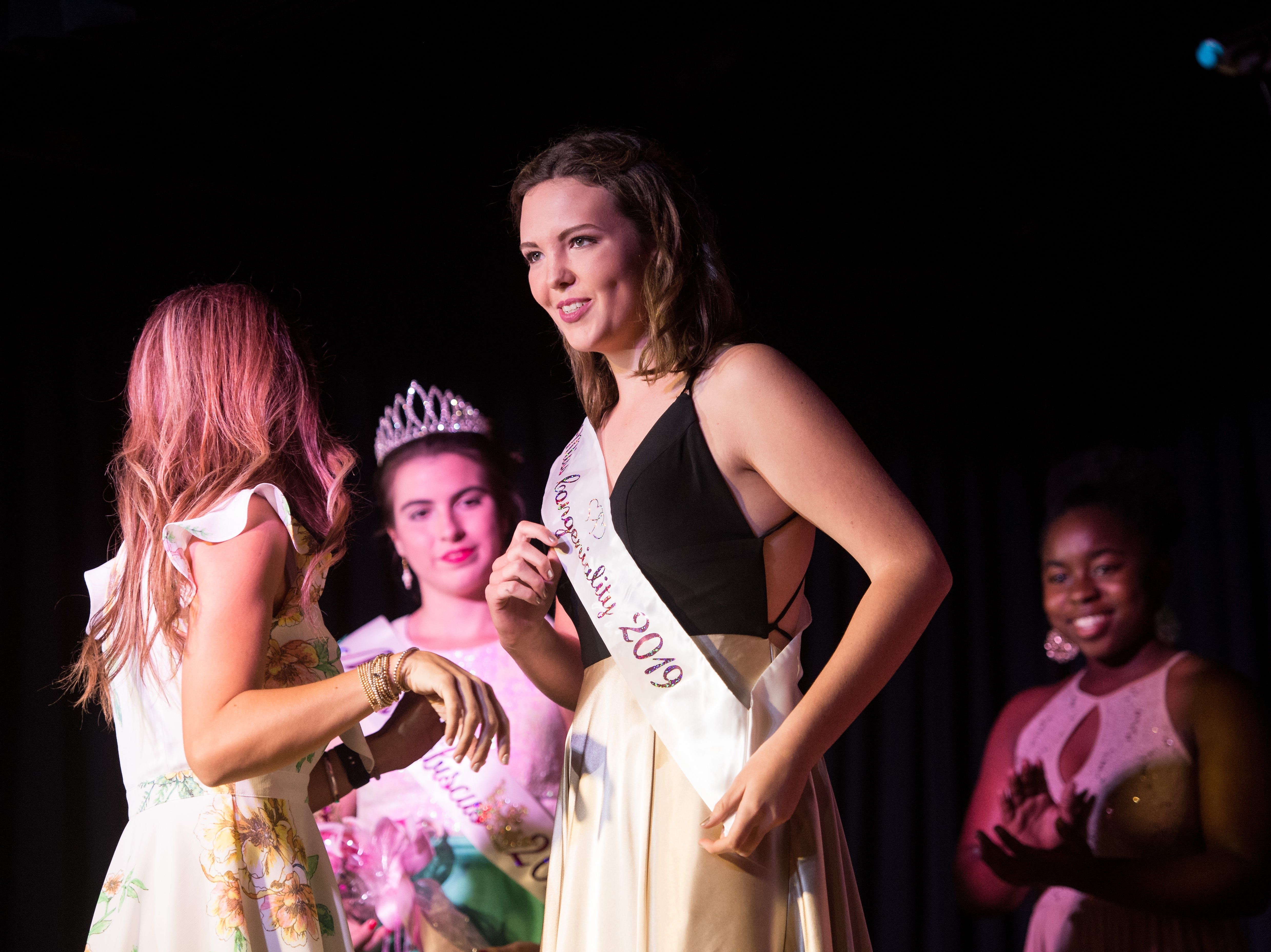 The 2019 Miss Hibiscus Pageant contestant Mackenzie Cooley is awarded Miss Congeniality on Thursday, April 11, 2019, at the Heritage Center in Vero Beach.