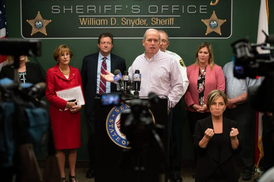 Martin County Commissioner Ed Ciampi speaks at an April 12 press conference on the Hepatitis A outbreak.