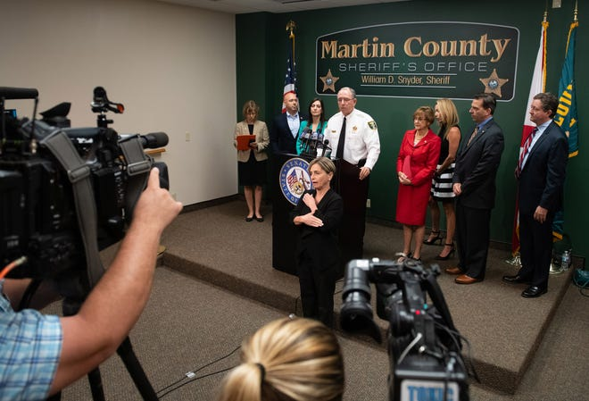 A press conference regarding the recent hepatitis A outbreak in Martin County was held at the Martin County Sheriff's Office on Friday, April 12, 2019, in Stuart.