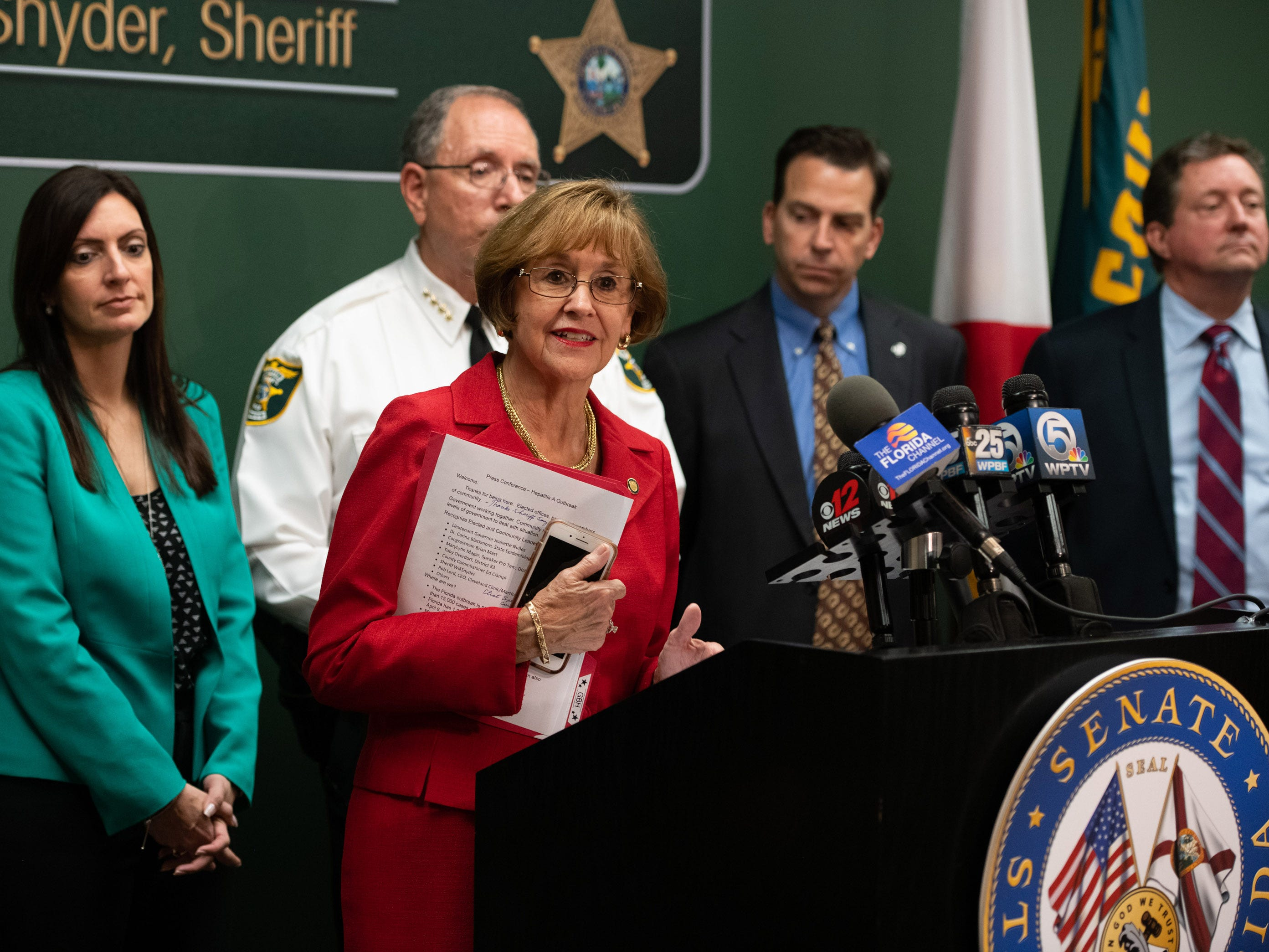 Senator Gayle Harrell speaks at the press conference regarding the recent hepatitis A outbreak in Martin County at Martin County Sheriff's Office on Friday, April 12, 2019, in Stuart.
