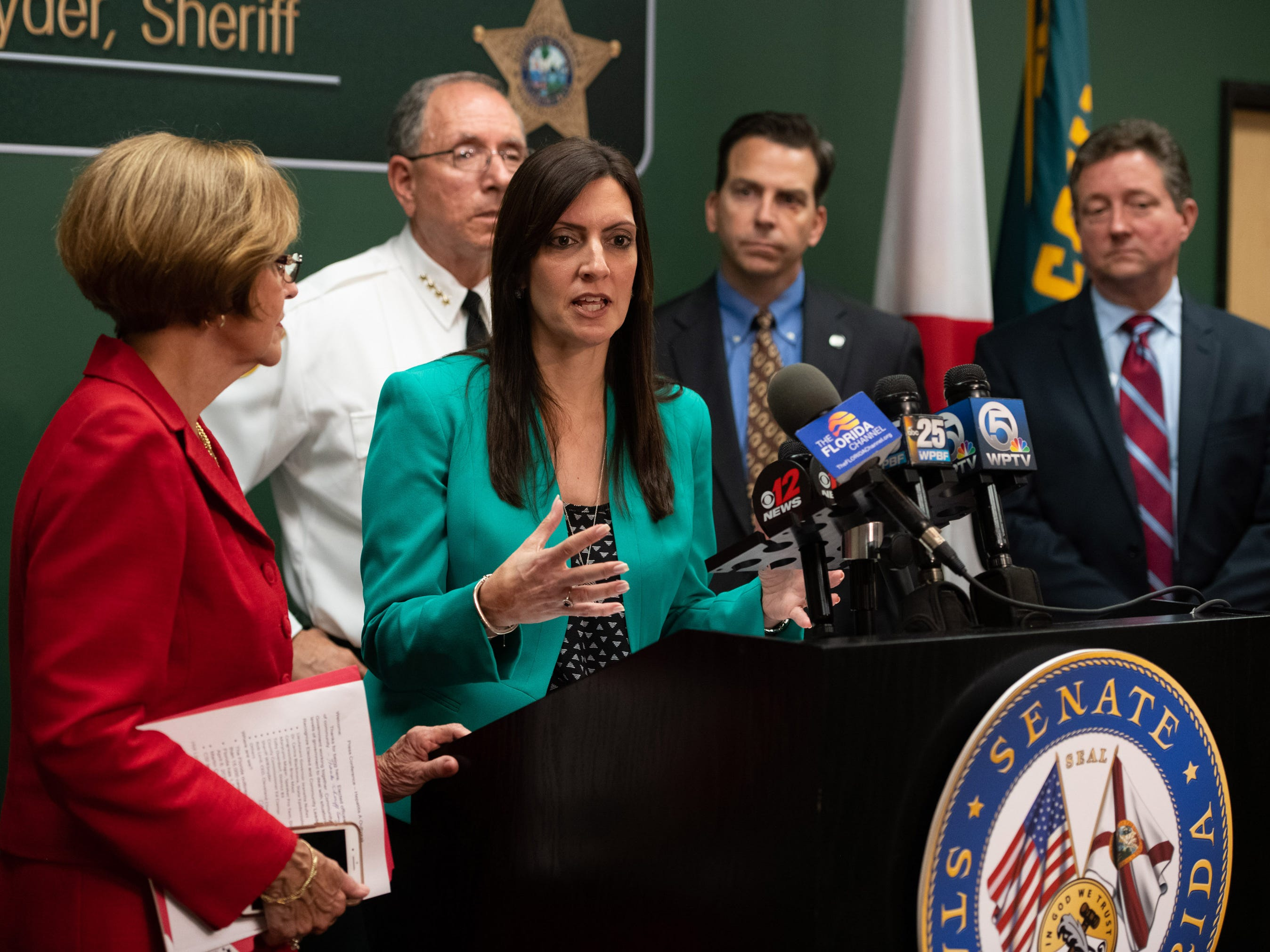 Lieutenant Governor Jeanette Nu–ez speaks at the press conference regarding the recent hepatitis A outbreak in Martin County at Martin County Sheriff's Office on Friday, April 12, 2019, in Stuart.