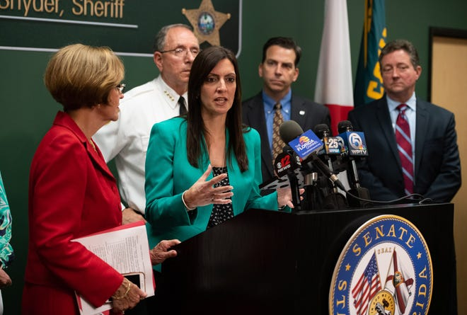 Lt. Gov.  Jeanette Nunez speaks at the news conference regarding the recent hepatitis A outbreak in Martin County at Martin County Sheriff's Office on Friday, April 12, 2019, in Stuart.