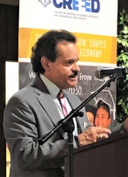 Eddie Rodriguez, CREEED executive director, talks at April 5 STEAM grant presentation.