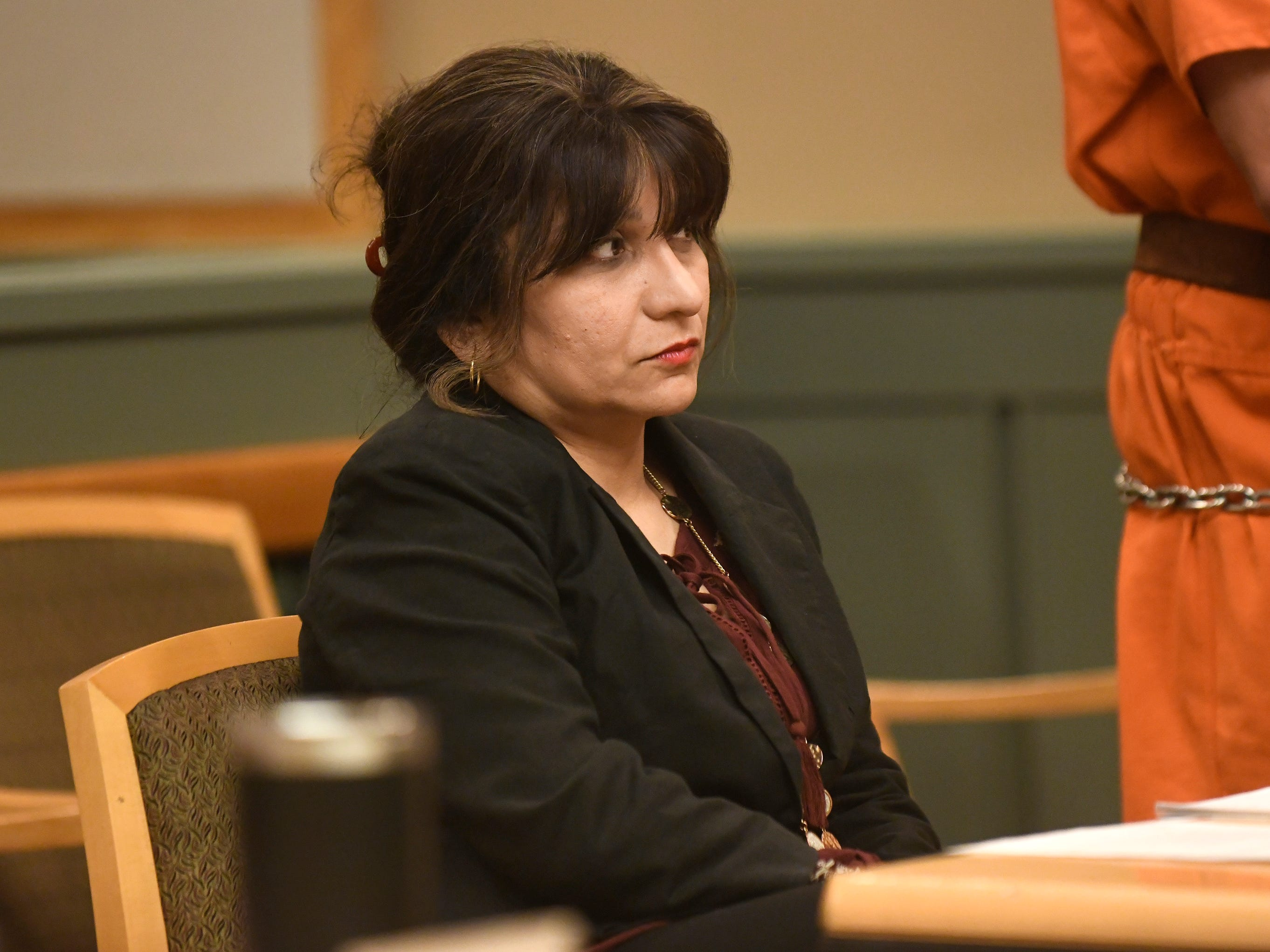 Defense attorney, Dinaz Akhtar, listens to Judge Robert Malestein during Ricardo Carrillo-Santiago's sentencing on Friday.