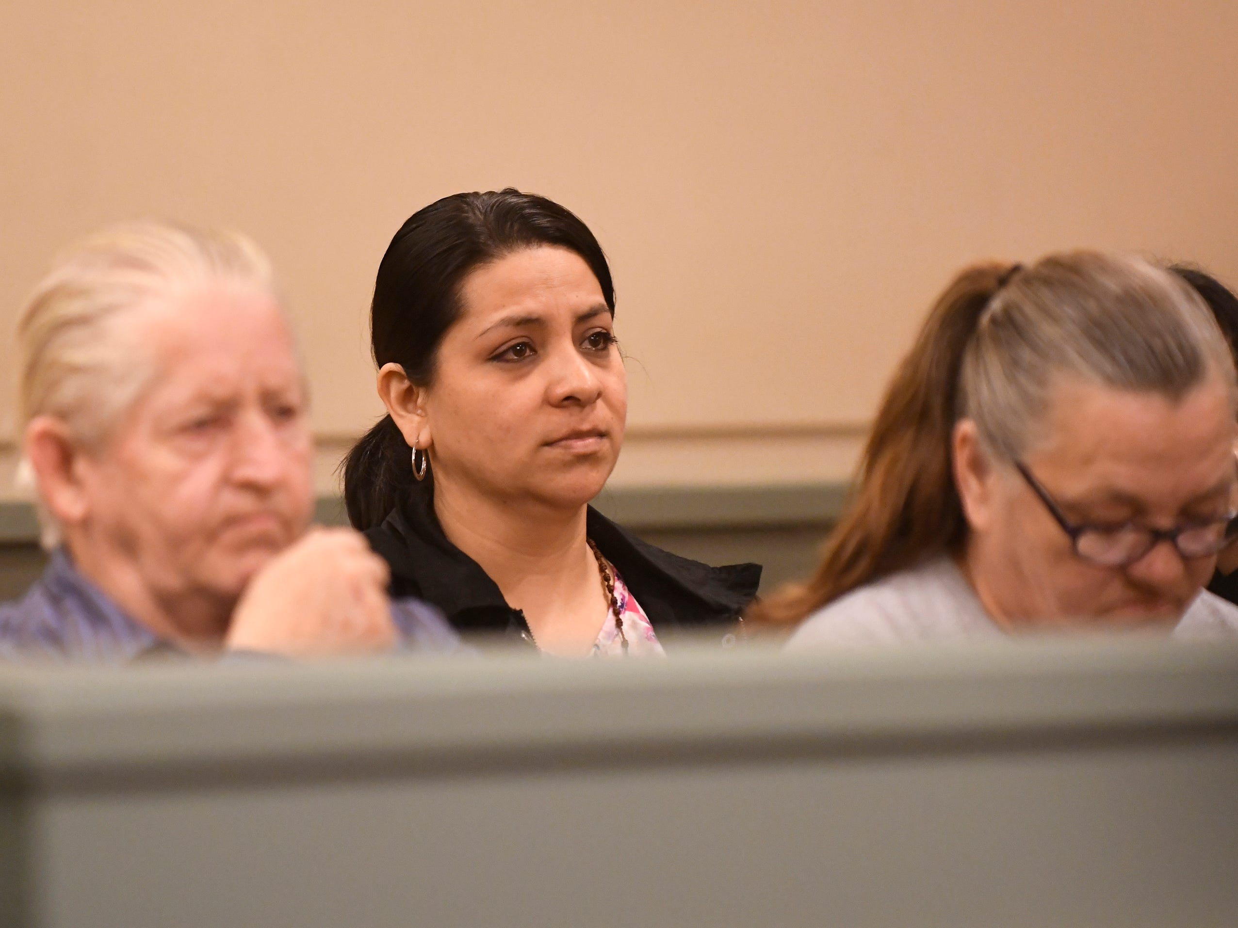 Family members of Neidy Ramirez listen to Judge Robert Malestein during Ricardo Carrillo-Santiago's sentencing on Friday, April 12, 2019.