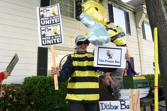 Nunes' critics took to the streets outside his Clovis office on Thursday to protest the congressman's recent lawsuits against Twitter and the Fresno Bee.