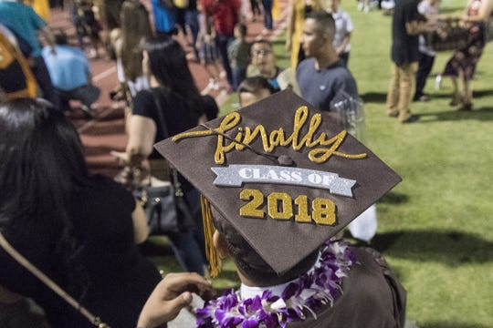 Golden West High School commencement ceremonies at Giant Chevrolet-Cadillac Mineral King Bowl on Thursday, May 31, 2018.