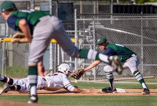 Mt. Whitney's Rolando Luna gets safely back to first during a pick-off attempt by El Diamante pitcher Riley Creech and Parker Boswell on Wednesday, April 10, 2019. Boswell was named the 2019 CIF Male Scholar-Athlete of the Year.