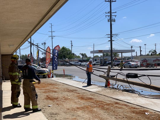 Visalia firefighters are on scene of a crash near Ben Maddox Way and Goshen Avenue. A vehicle crashed into a pole around 2 p.m. on Friday, April 12.