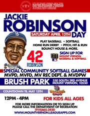 Mount Vernon will celebrate Jackie Robinson Day on Saturday , April 13, at Brush Park