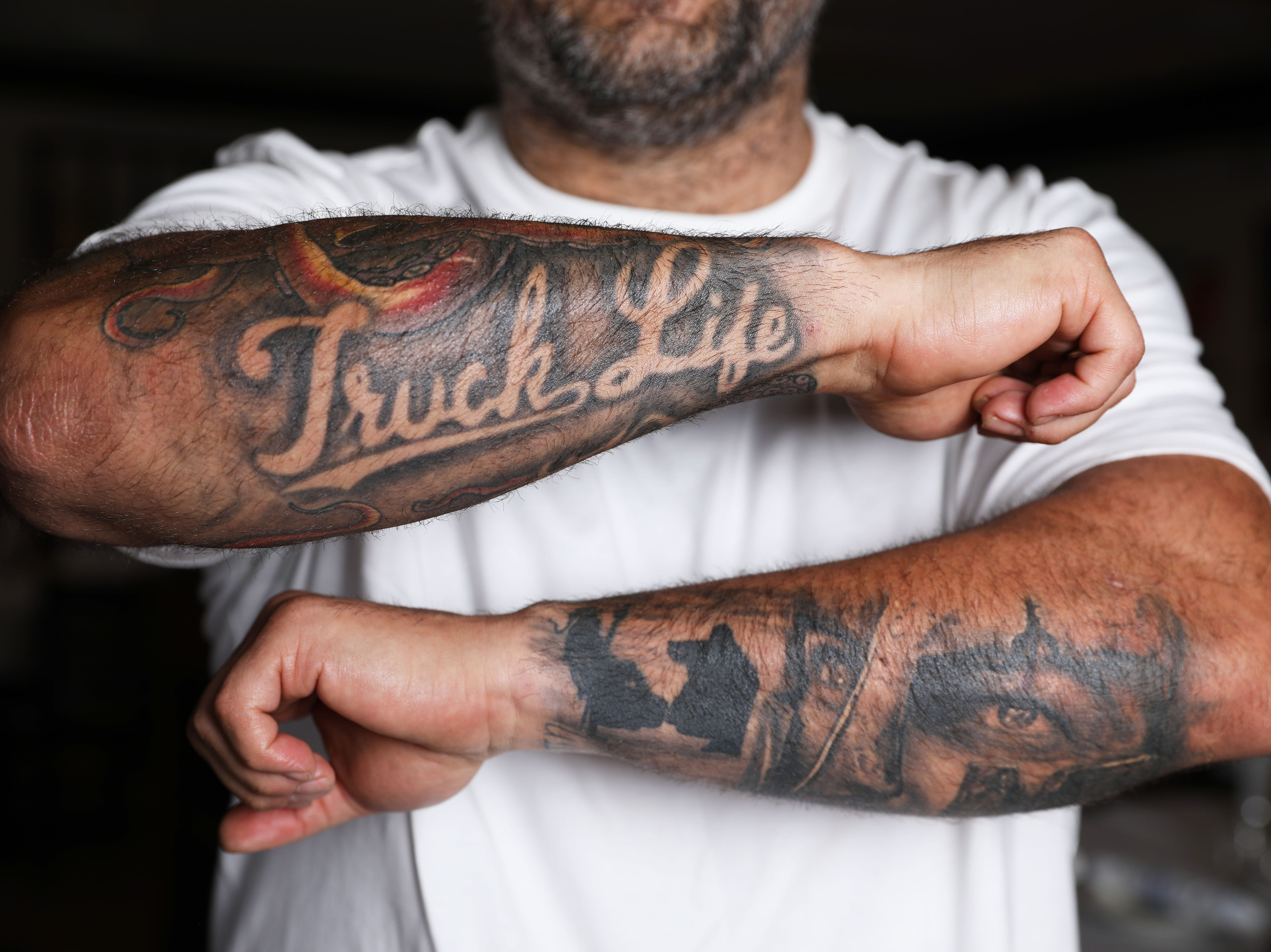 """Chef George Kringas, owner of The Souvlaki Truck in Yonkers and Niko's Greek Taverna in White Plains, shows his """"Truck Life"""" and Sparta tattoos March 22, 2019."""