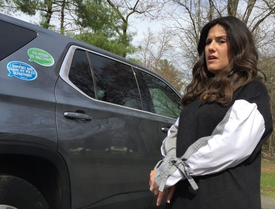 "Shoshana Bernstein has ""Proud to Vaccinate"" magnet on her car to illustrate that not all Orthodox Jews are against vaccinations in Monsey April 12, 2019."