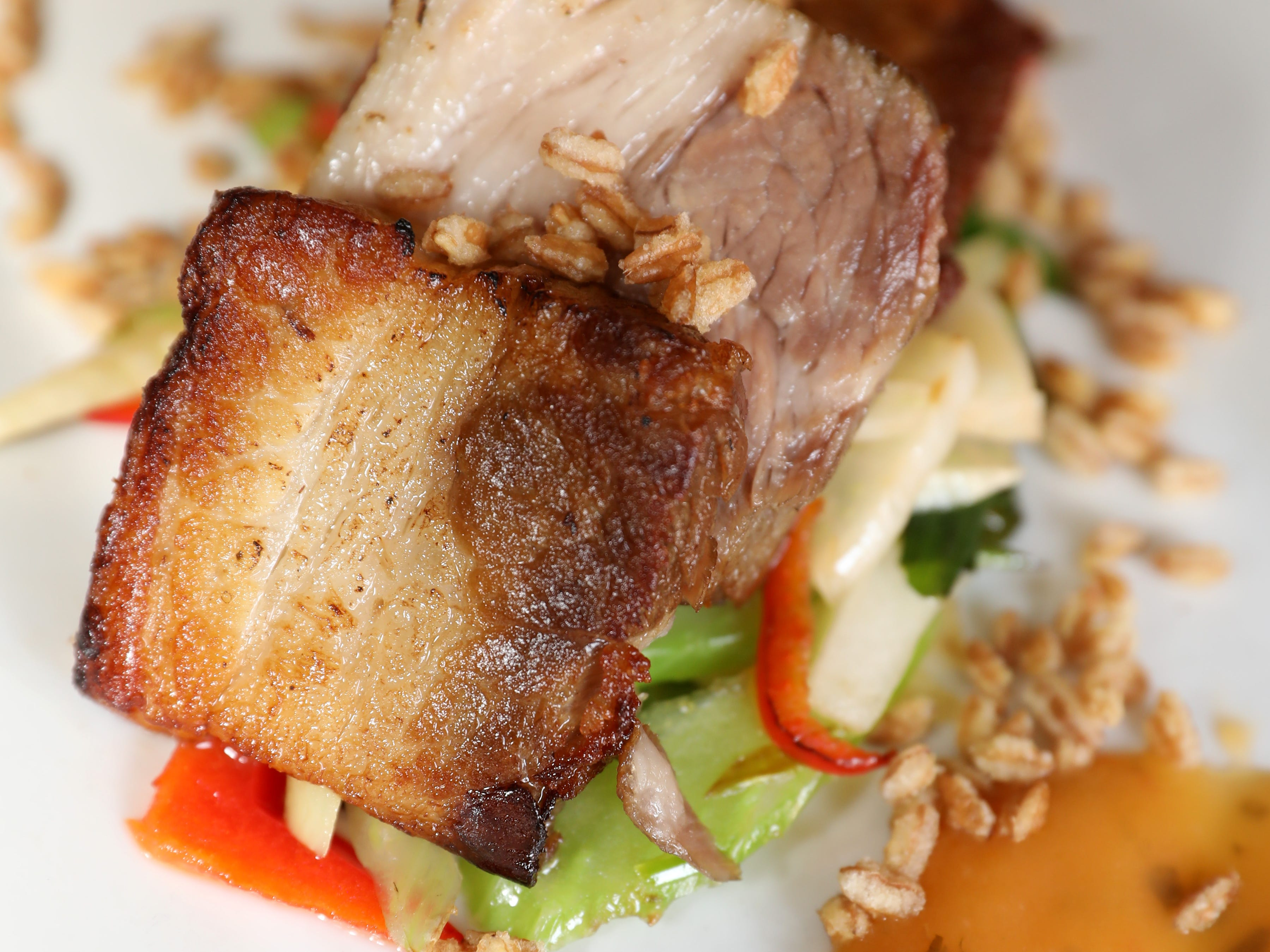 Pork belly with Thai garlic sauce at Velo Bistro Wine Bar in Nyack March 14, 2019.