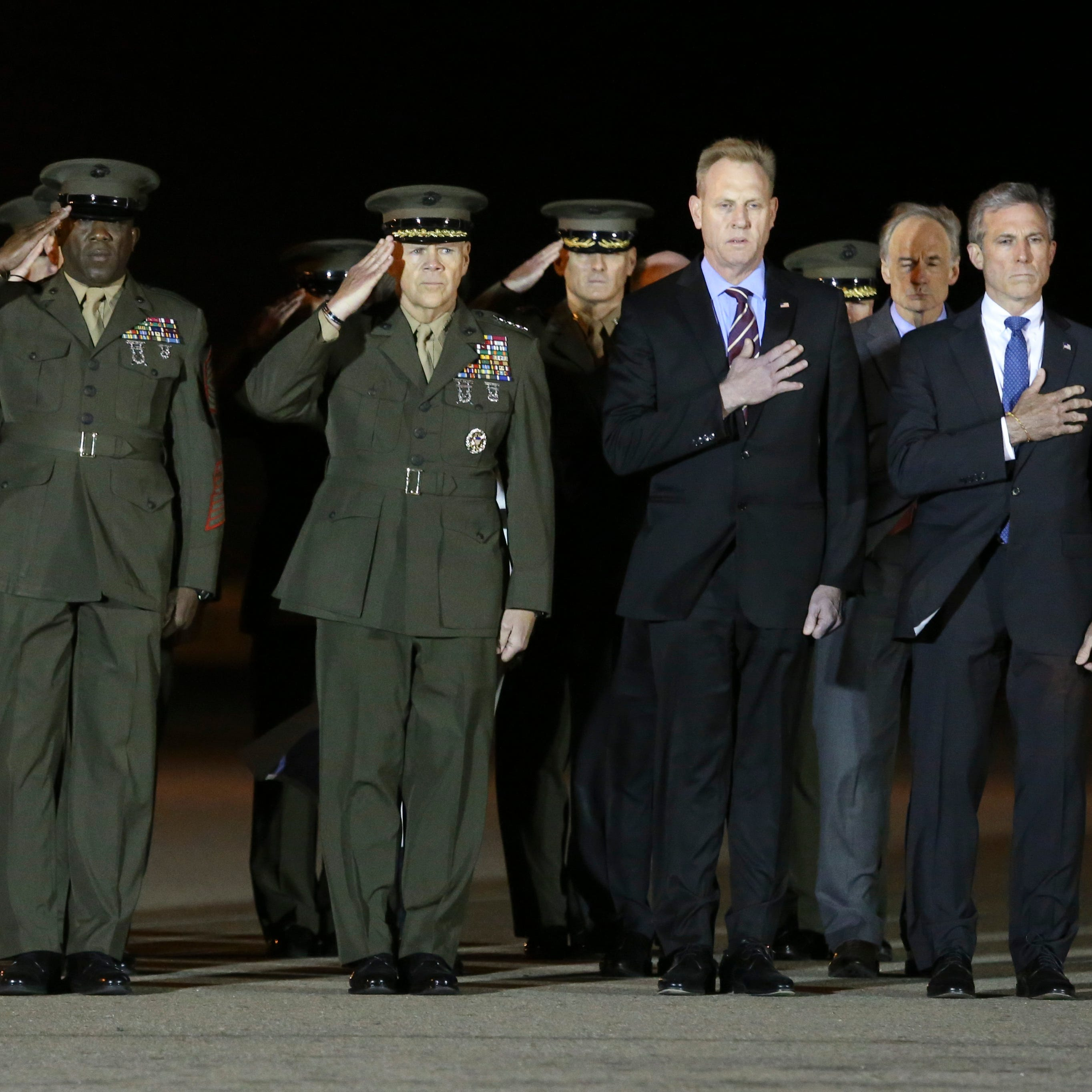 As fallen Marine's remains arrive in Dover, top state, military officials on hand