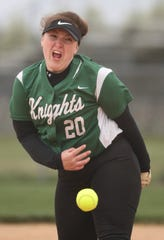 Mount Pleasant's Teagan Bradley throws a pitch late in Appoquinimink's 3-0 home win against Mount Pleasant Thursday.