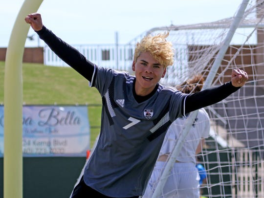 Wichita Falls High School's Daniel Alvarez celebrates his goal against Lake Dallas Friday, April 12, 2019, at Memorial Stadium in the Region I-5A Tournament. The Falcons defeated the Coyotes 4-2.
