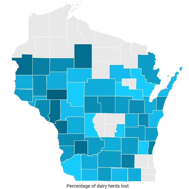 7 trends explaining the contours of Wisconsin's deepening dairy crisis