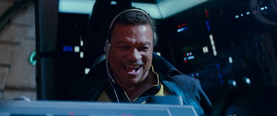 "Billy Dee Williams is back in the Millennium Falcon as Lando Calrissian in ""Star Wars: The Rise of Skywalker."""