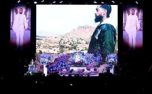 Louis Farrakhan, speaks during the Celebration of Life memorial service for the late Nipsey Hussle at the Staples Center.