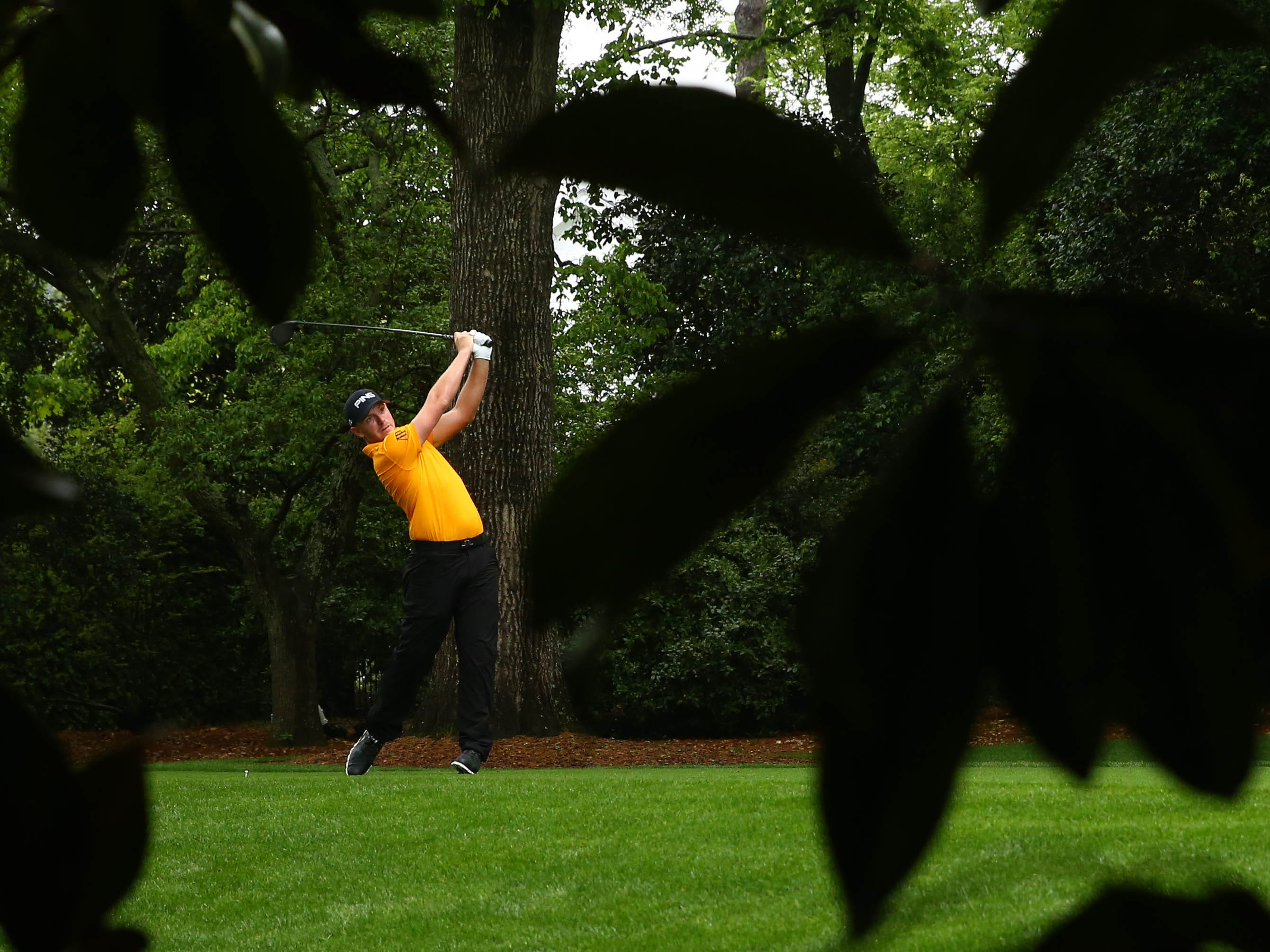 Alvaro Ortiz hits his tee shot on the second hole during the second round of the Masters.