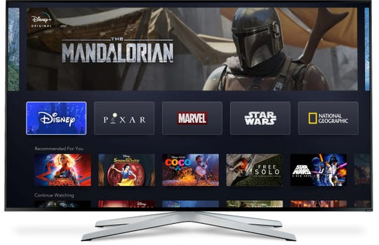 Here's the Disney+ streaming service as it will appear on a Smart TV.