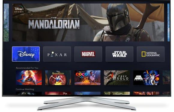 Disney+ as it will appear on a Smart TV.