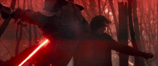 """Kylo Ren (Adam Driver) looks more ticked off than usual in """"Star Wars: The Rise of Skywalker."""""""