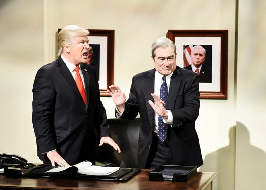 """Alec Baldwin as President Donald Trump and Robert De Niro as Robert Mueller during the cold open of """"Saturday Night Live"""" on March 30, 2019."""