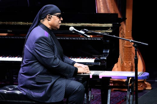 Stevie Wonder performs onstage during Nipsey Hussle's Celebration of Life at Staples Center in Los Angeles.