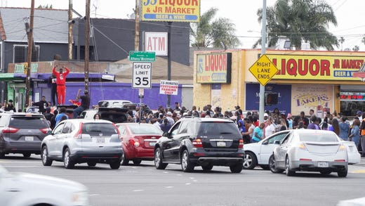 Members of the public joined Nipsey Hussle's 25.5 mile funeral procession through Los Angeles.