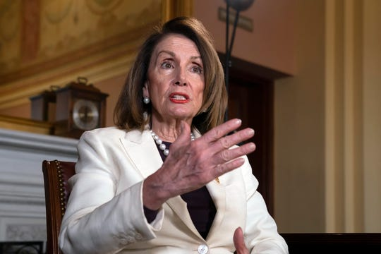 Speaker of the House Nancy Pelosi, D-Calif., speaks during an interview with The Associated Press in her office at the Capitol in Washington, Wednesday, April 10, 2019. (AP Photo/J. Scott Applewhite) ORG XMIT: DCSA109