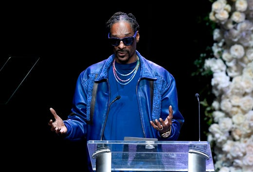 Snoop Dogg speaks during the Celebration of Life memorial service for the late Nipsey Hussle at the Staples Center.