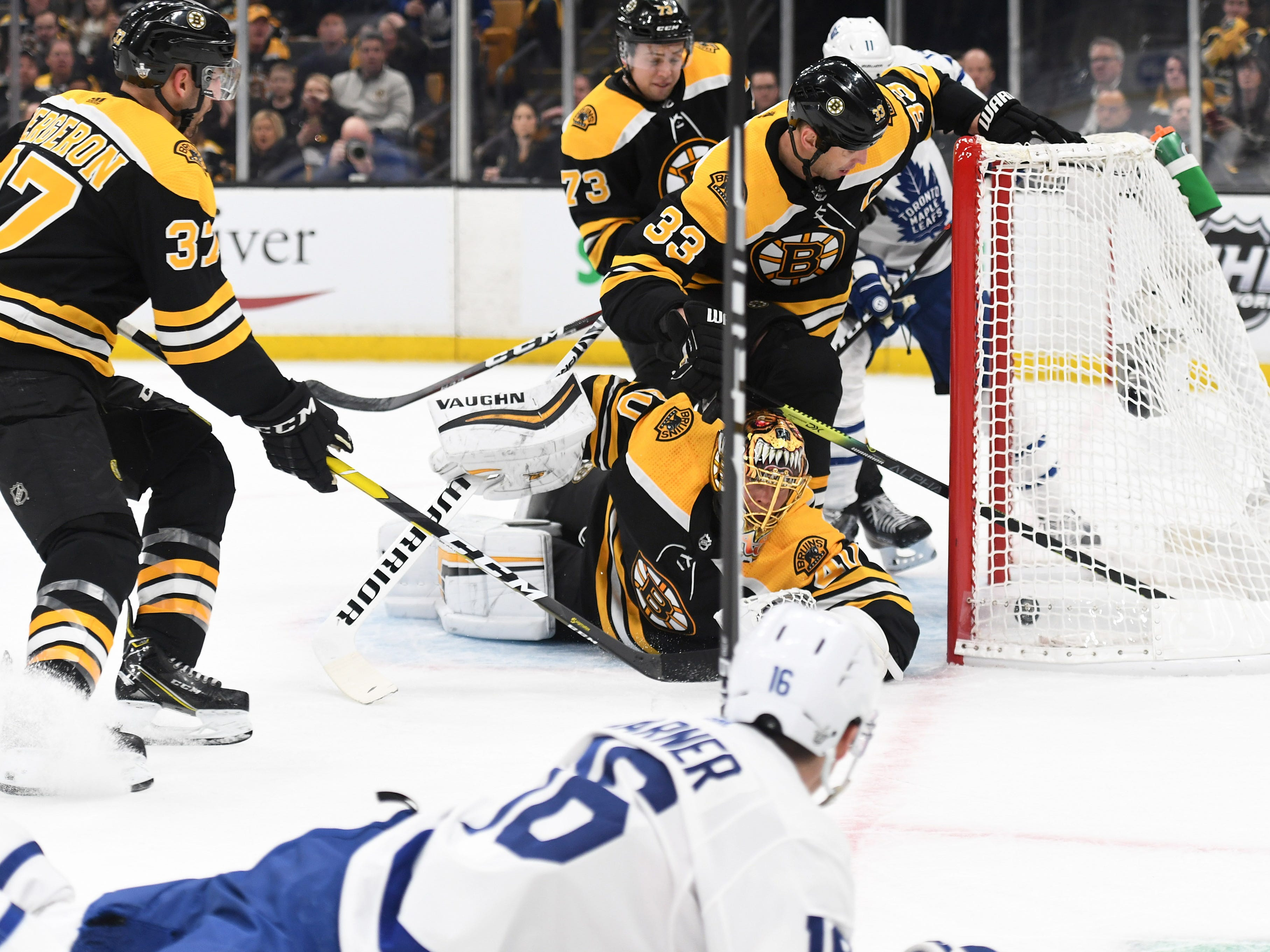 First round: Toronto Maple Leafs right wing Mitchell Marner scores a goal against the Boston Bruins during the first period in Game 1 at TD Garden. The Maple Leafs won the game, 4-1.