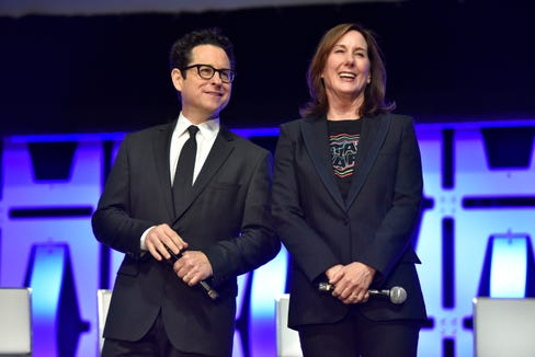 "J.J. Abrams and Kathleen Kennedy participate in the ""Star Wars: The Rise of Skywalker"" panel at Star Wars Celebration."
