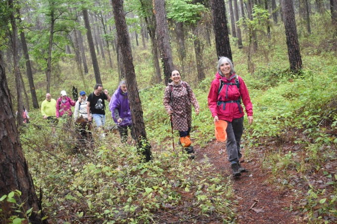 The Wild Azalea Trail (WAT) Blitz was held Saturday, April 13, 2019 with hikers from Central Louisiana, Baton Rouge, Monroe and Lafayette hiking either short, medium or long segments of the trail beginning at the Evangeline Camp WAT trailehead located on Messina Road.The WAT starts in Woodworth and ends at Valentine Lake near Gardner.ÊThe trail winds through the Kisatchie National Forest,ÊAt about 30 miles long, the WAT is theÊlongest continuousÊtrail in Louisiana.ÊThe purpose behind the WAT Blitz was to showcase the outdoor resources, such as the Wild Azalea Trail, available in Central Louisiana.