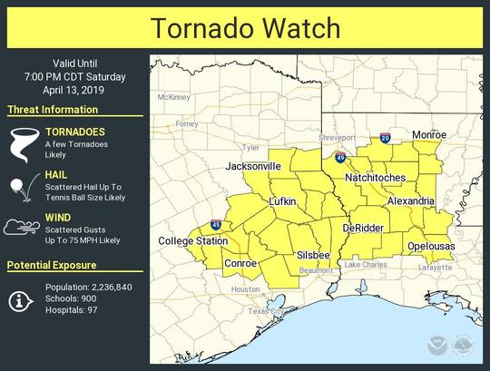 Much of Central Louisiana was under a tornado watch until Saturday evening.