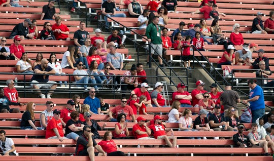 Crowds were light for the 2018 Rutgers Football Scarlet-White game in Piscataway, NJ on April 13, 2019.