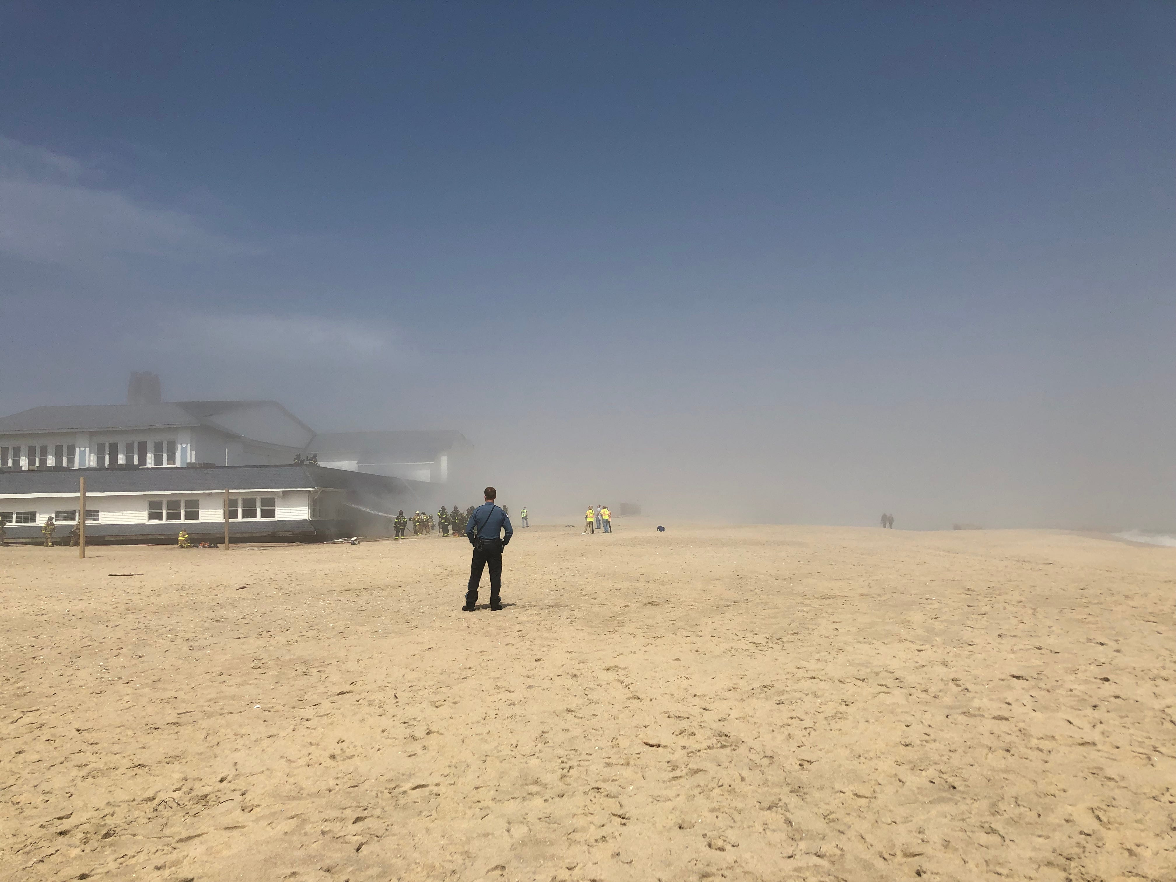 Haze from the fire clouded the beach