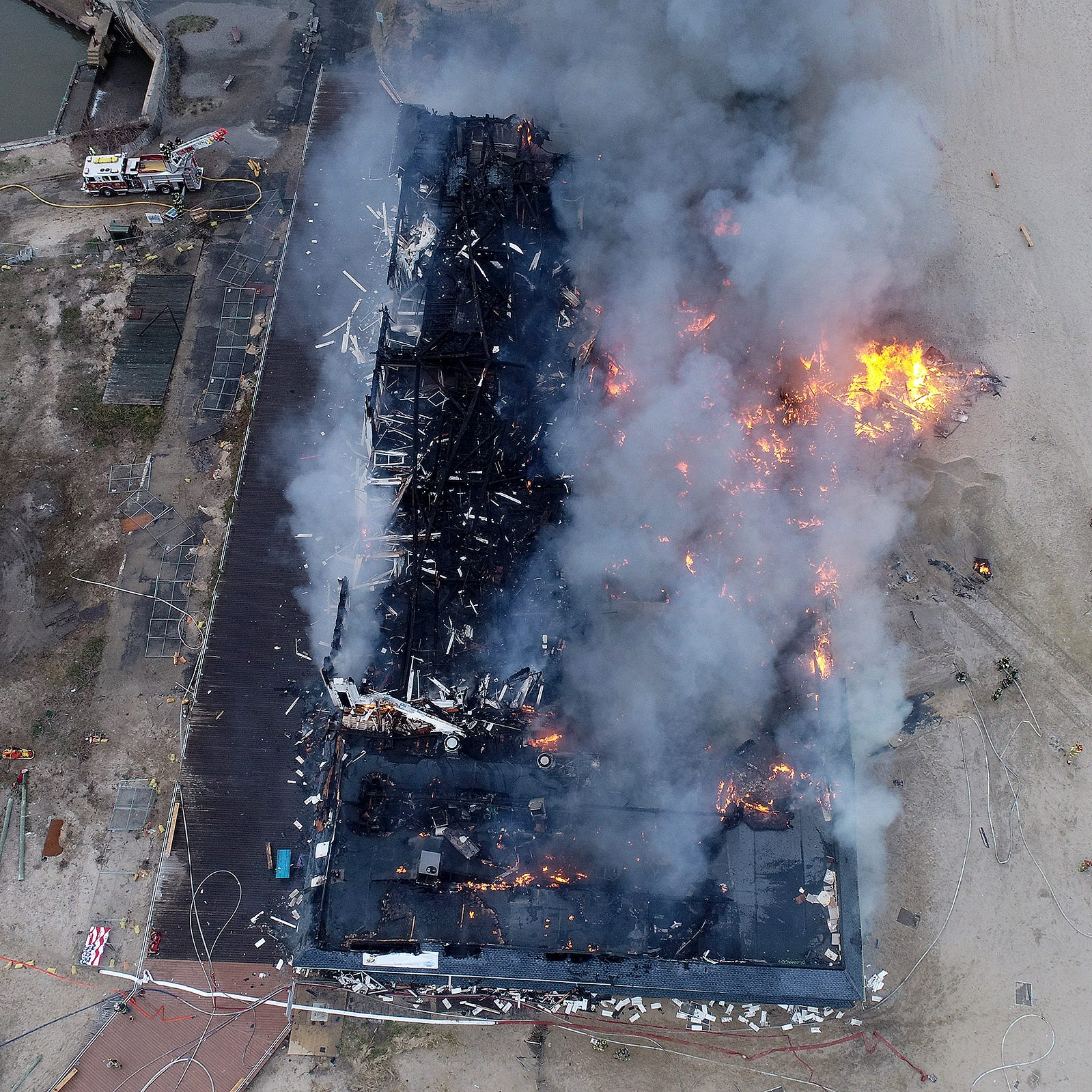 Ocean Grove fire:  Drone view of Dunes Boardwalk Cafe fire scene