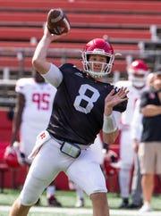Rutgers quarterback Artur Sitkowski. 2018 Rutgers Football Scarlet-White game in Piscataway, NJ on April 13, 2019.