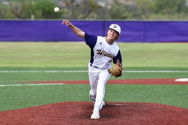 Wylie pitcher Brooks Gay (9) lets go of the ball against Cooper at Bulldog Field on Friday. Gay earned the win, giving up one unearned run in six innings on two hits with three strikeouts as the Bulldogs won 4-3.
