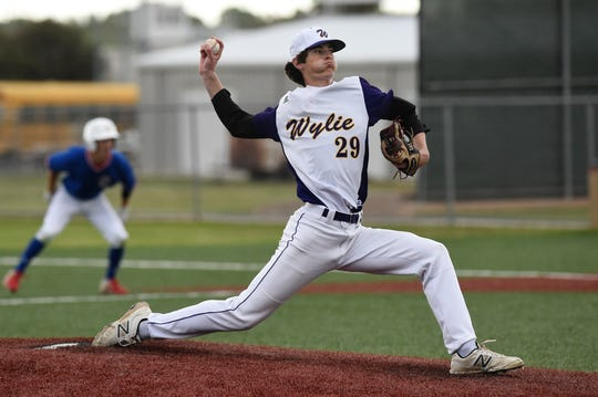 Wylie pitcher Walker Piland (29) got the start in Game 1 of the bi-district series against Lubbock-Cooper last week. Piland, Dash Albus and Brooks Gay each made their first career playoff start in the first round.