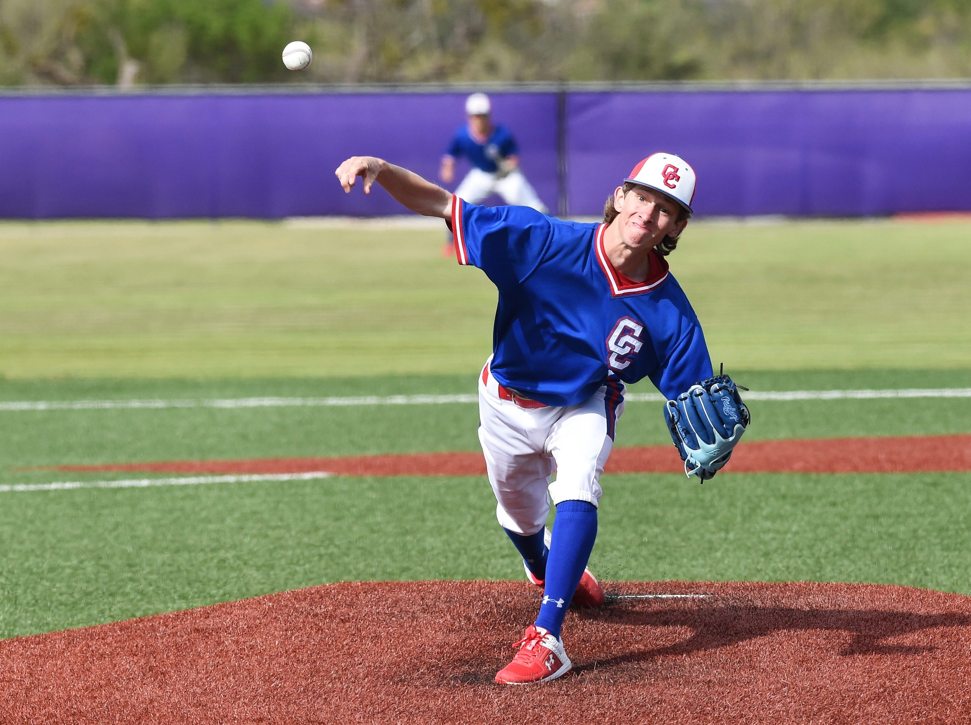 Cooper pitcher Matthew Shira (8) lets go of the ball against Wylie at Bulldog Field on Friday, April 12, 2019. The Cougars comeback bid fell short, 4-3.